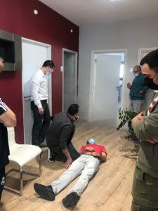 Exercice evacuation victime local enfumé